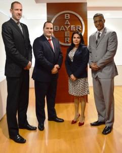 Heiko Mussmann, Gerente General Bayer Perú; Luis Mendoza, Gerente Consumer Health Bayer Perú; Rosa Aquije, Líder Comercial Pharmaceuticals Bayer Perú y Ricardo Reyes, Gerente Animal Health Bayer Perú & Venezuela.